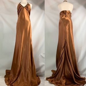 1920's inspired Floor Length beaded Copper Gown